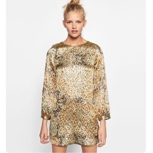 Zara Trafaluc Party Dress Gold Small